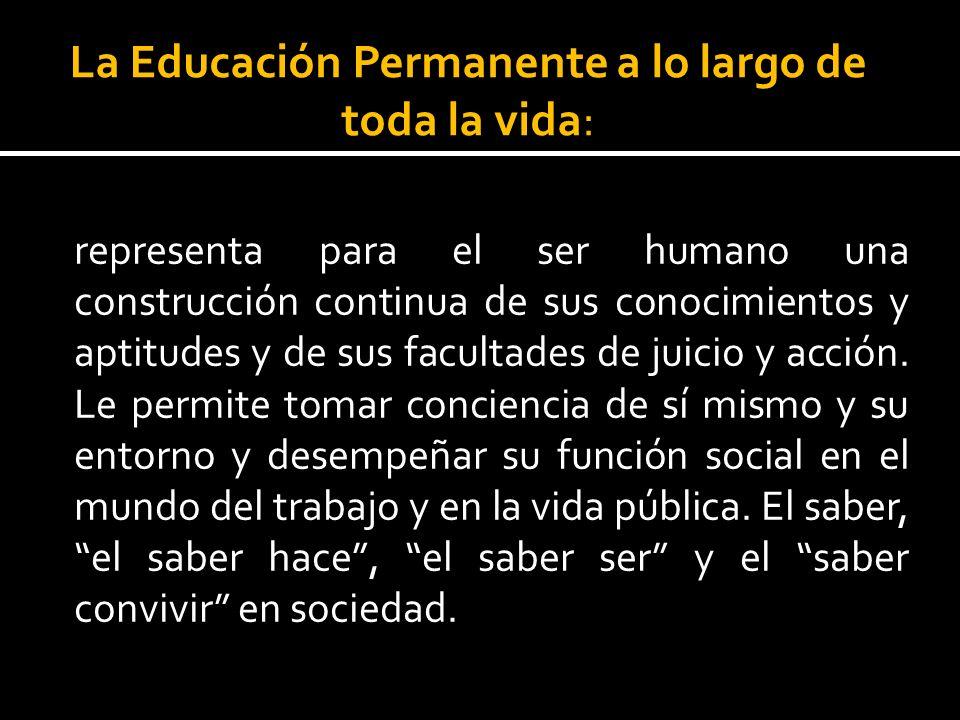La Educación Permanente a lo largo de toda la vida:
