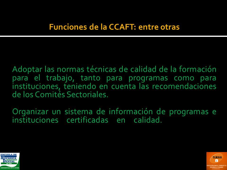 Funciones de la CCAFT: entre otras