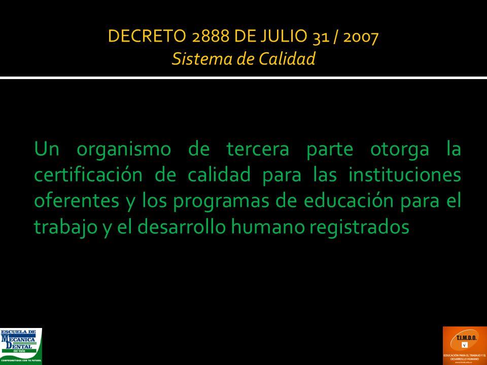 DECRETO 2888 DE JULIO 31 / 2007 Sistema de Calidad