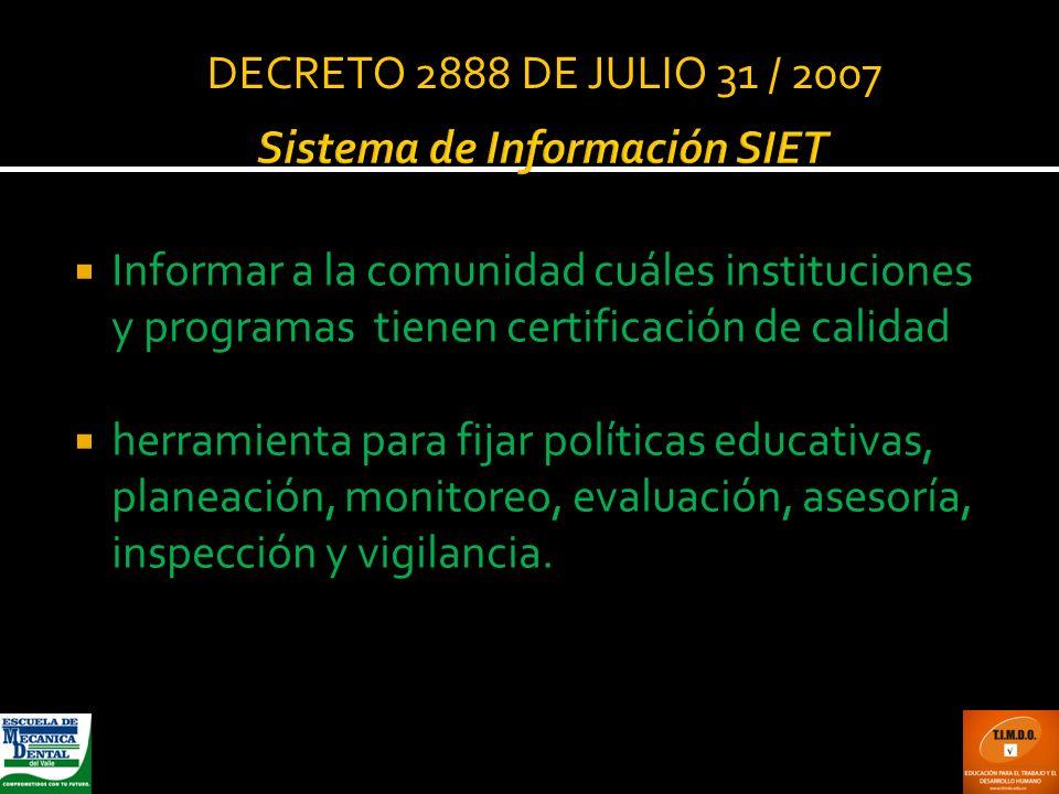 Sistema de Información SIET