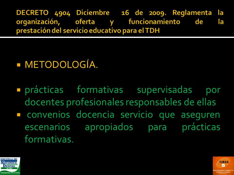 DECRETO 4904 Diciembre 16 de 2009. Reglamenta la organización, oferta y funcionamiento de la prestación del servicio educativo para el TDH