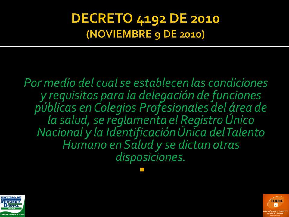 DECRETO 4192 DE 2010 (NOVIEMBRE 9 DE 2010)