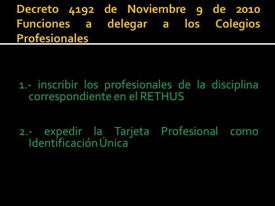 Decreto 4192 de Noviembre 9 de 2010 Funciones a delegar a los Colegios Profesionales