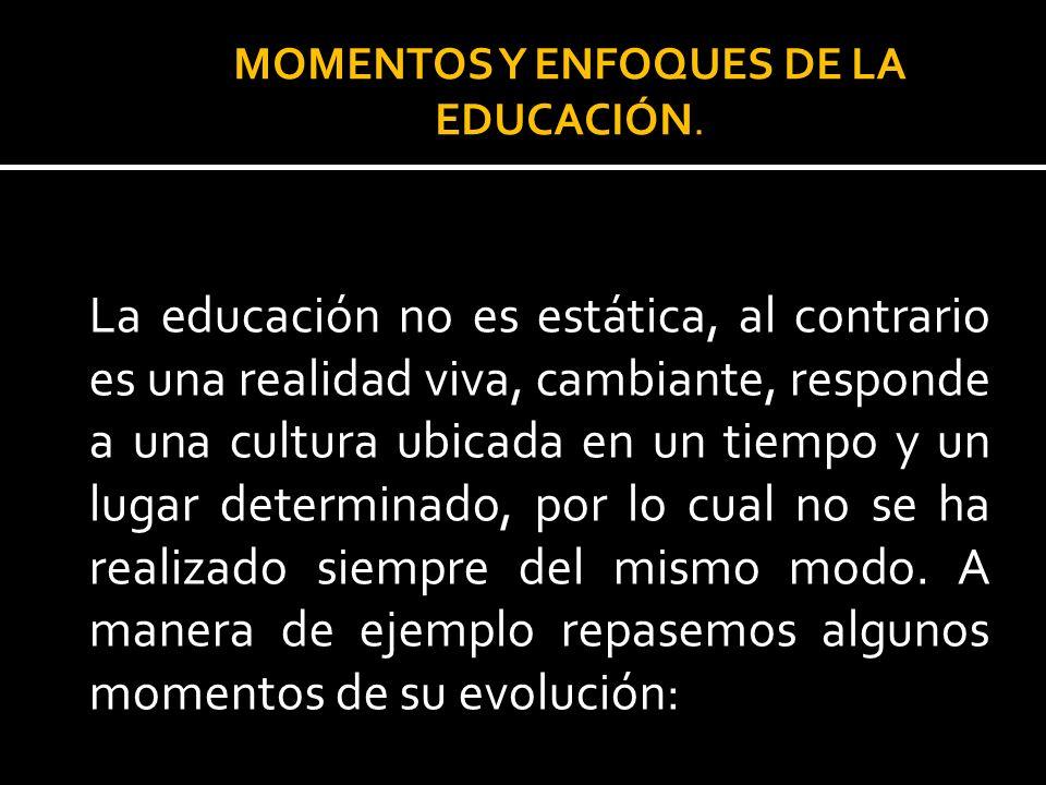 MOMENTOS Y ENFOQUES DE LA EDUCACIÓN.