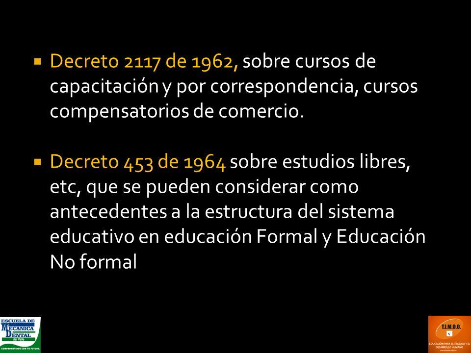 Decreto 2117 de 1962, sobre cursos de capacitación y por correspondencia, cursos compensatorios de comercio.
