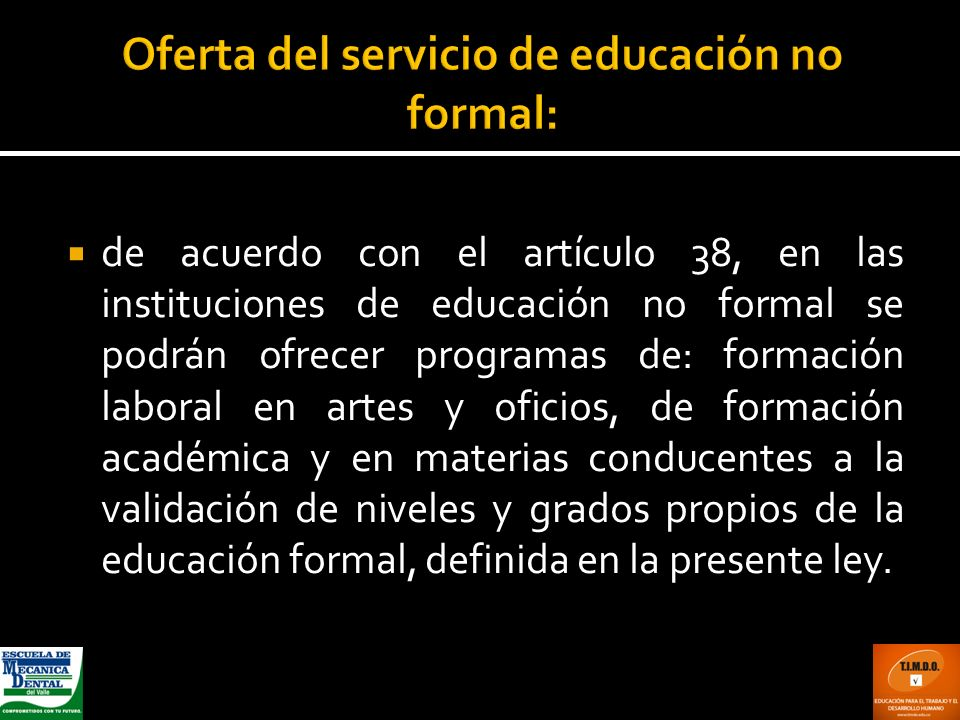 Oferta del servicio de educación no formal:
