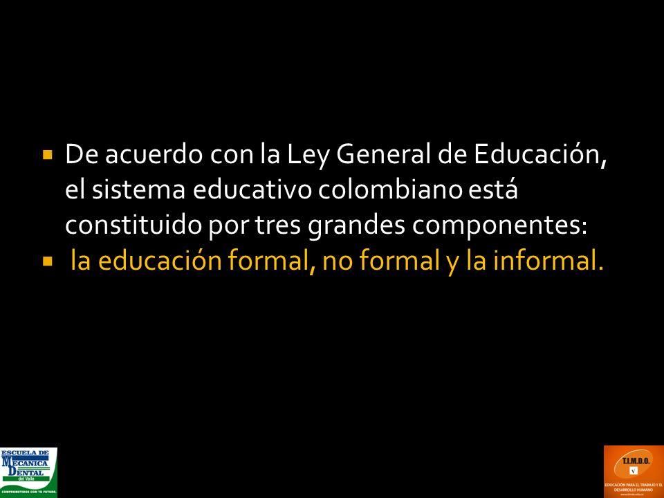 De acuerdo con la Ley General de Educación, el sistema educativo colombiano está constituido por tres grandes componentes: