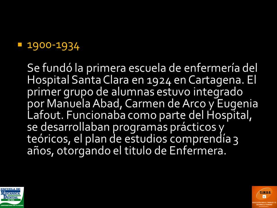 1900-1934 Se fundó la primera escuela de enfermería del Hospital Santa Clara en 1924 en Cartagena.