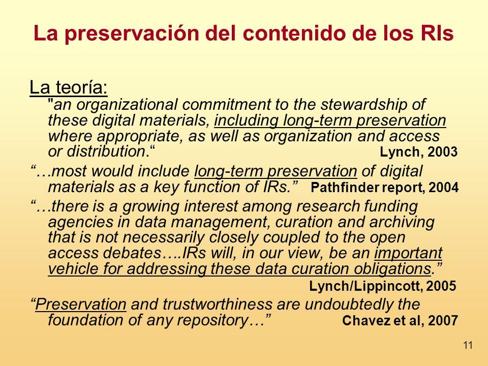 La preservación del contenido de los RIs