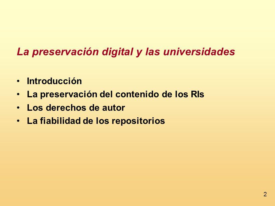 La preservación digital y las universidades