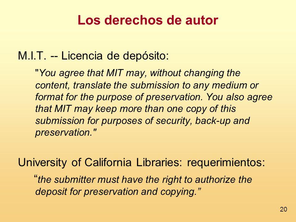 Los derechos de autor M.I.T. -- Licencia de depósito: