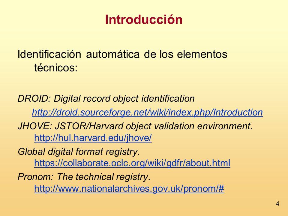 Introducción Identificación automática de los elementos técnicos: