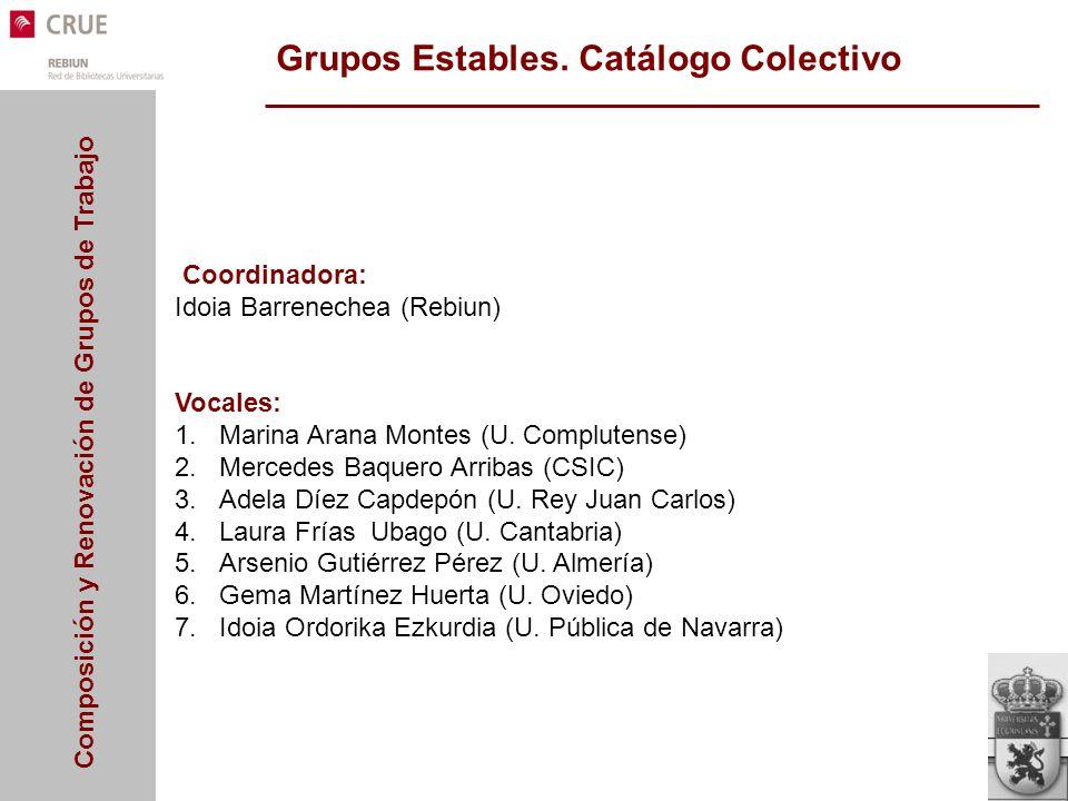 Grupos Estables. Catálogo Colectivo