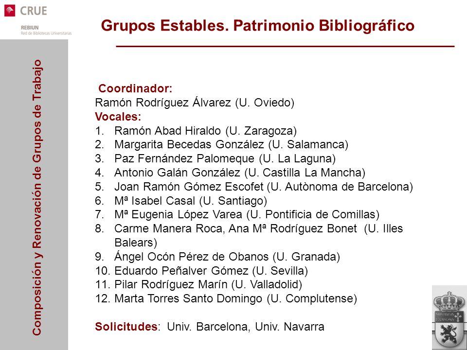 Grupos Estables. Patrimonio Bibliográfico