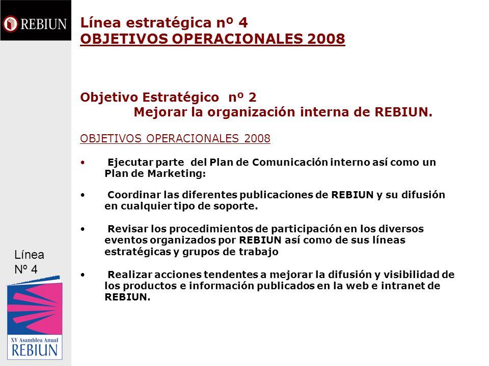Línea estratégica nº 4 OBJETIVOS OPERACIONALES 2008