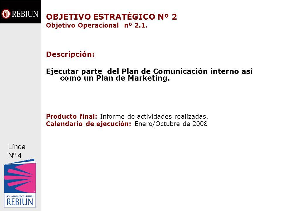 OBJETIVO ESTRATÉGICO Nº 2 Objetivo Operacional nº 2.1.