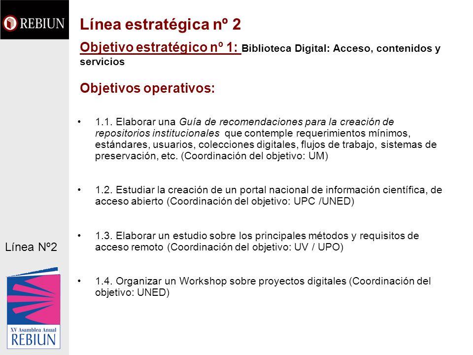 Línea estratégica nº 2 Objetivo estratégico nº 1: Biblioteca Digital: Acceso, contenidos y servicios Objetivos operativos: