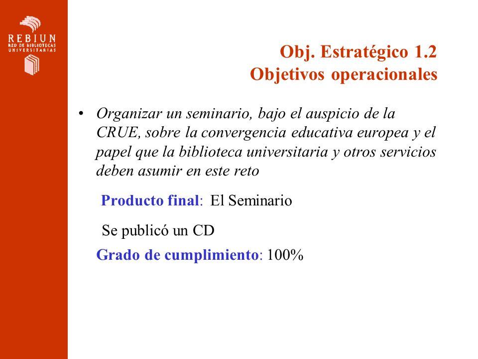 Obj. Estratégico 1.2 Objetivos operacionales