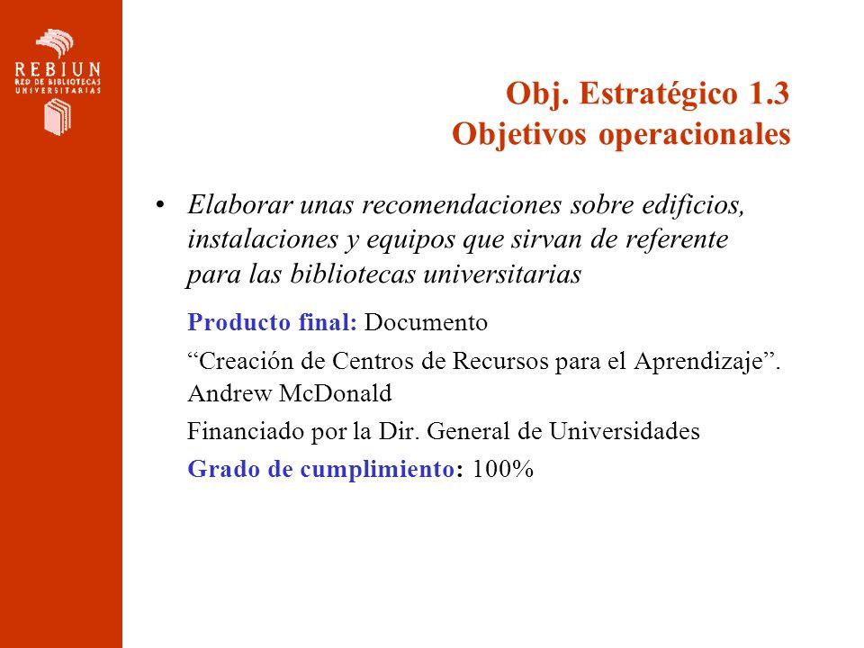 Obj. Estratégico 1.3 Objetivos operacionales