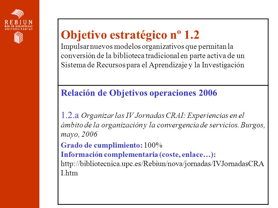 Relación de Objetivos operaciones 2006