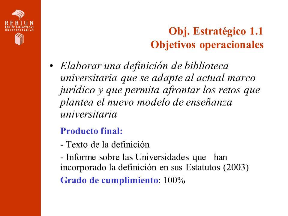 Obj. Estratégico 1.1 Objetivos operacionales