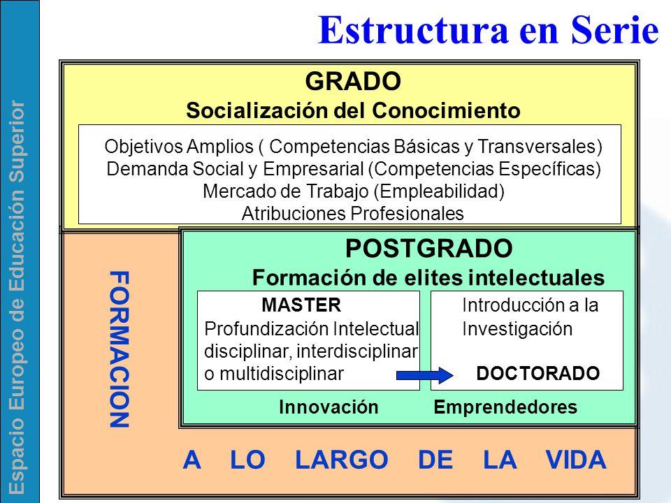 Estructura en Serie A LO LARGO DE LA VIDA GRADO POSTGRADO FORMACION