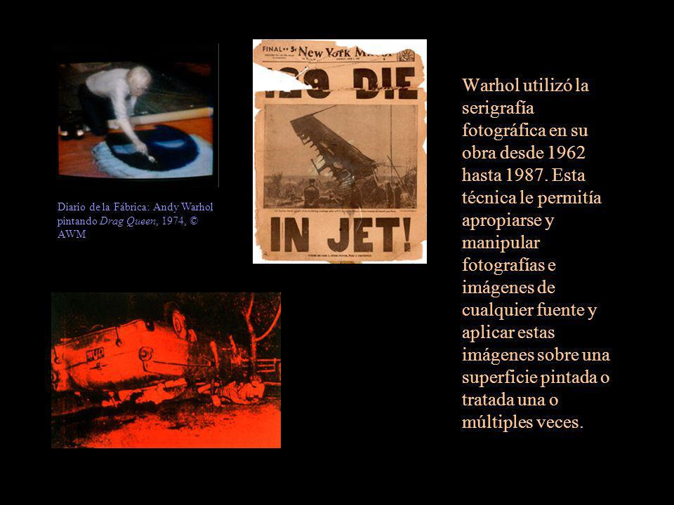 Warhol utilizó la serigrafía fotográfica en su obra desde 1962 hasta 1987. Esta técnica le permitía apropiarse y manipular fotografías e imágenes de cualquier fuente y aplicar estas imágenes sobre una superficie pintada o tratada una o múltiples veces.