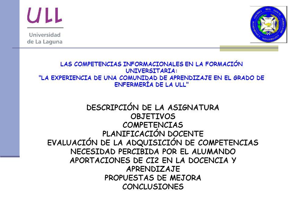 DESCRIPCIÓN DE LA ASIGNATURA OBJETIVOS COMPETENCIAS