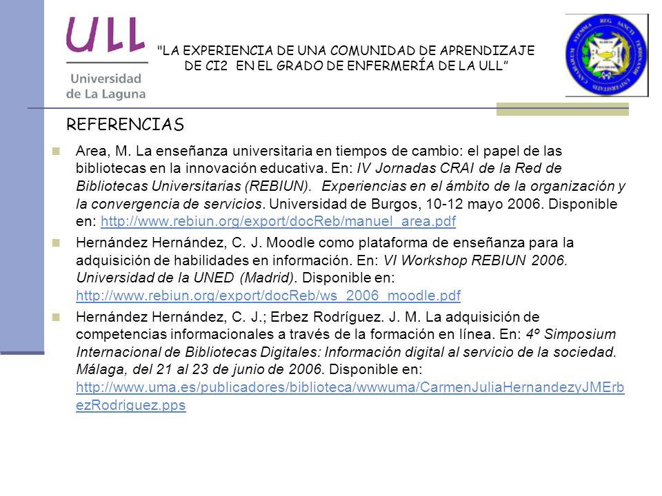 LA EXPERIENCIA DE UNA COMUNIDAD DE APRENDIZAJE DE CI2 EN EL GRADO DE ENFERMERÍA DE LA ULL