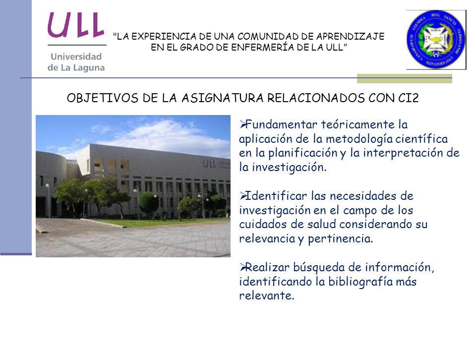 OBJETIVOS DE LA ASIGNATURA RELACIONADOS CON CI2