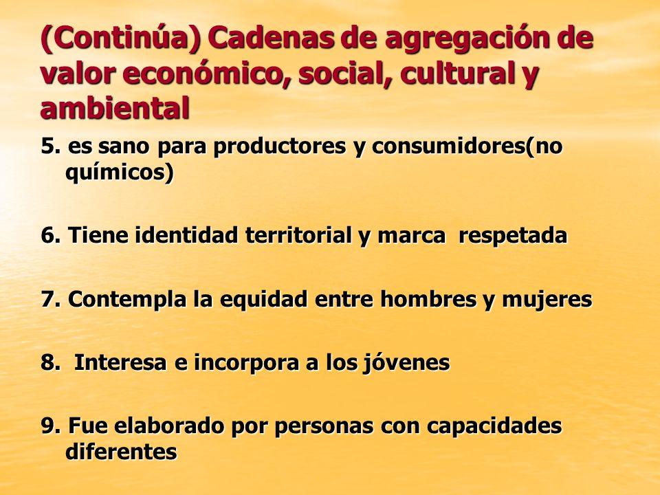 (Continúa) Cadenas de agregación de valor económico, social, cultural y ambiental