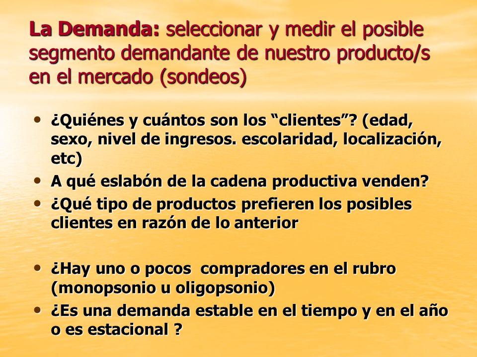 La Demanda: seleccionar y medir el posible segmento demandante de nuestro producto/s en el mercado (sondeos)