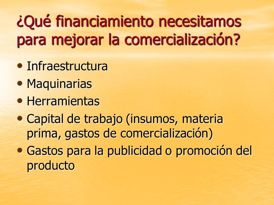 ¿Qué financiamiento necesitamos para mejorar la comercialización