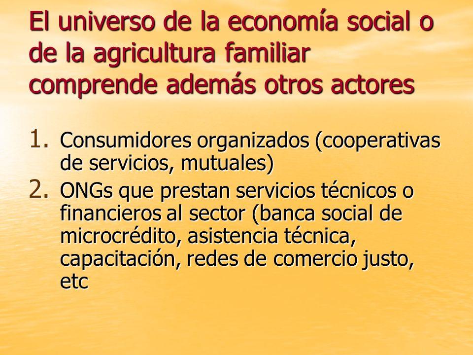 El universo de la economía social o de la agricultura familiar comprende además otros actores