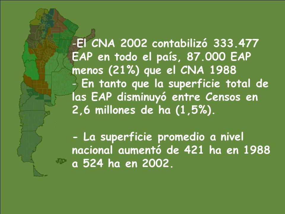 El CNA 2002 contabilizó 333. 477 EAP en todo el país, 87