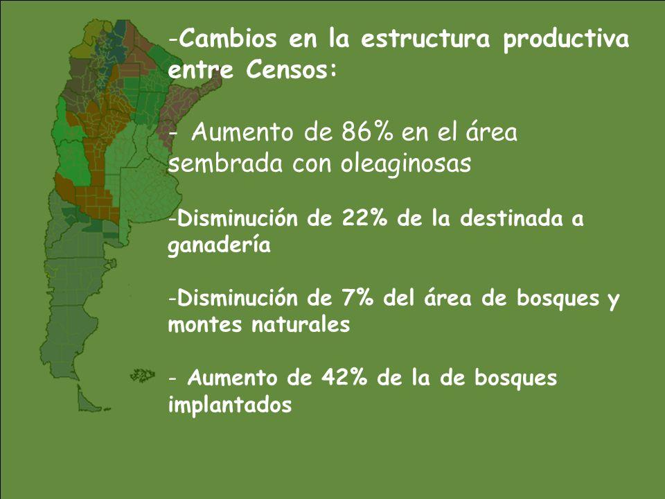 Cambios en la estructura productiva entre Censos: