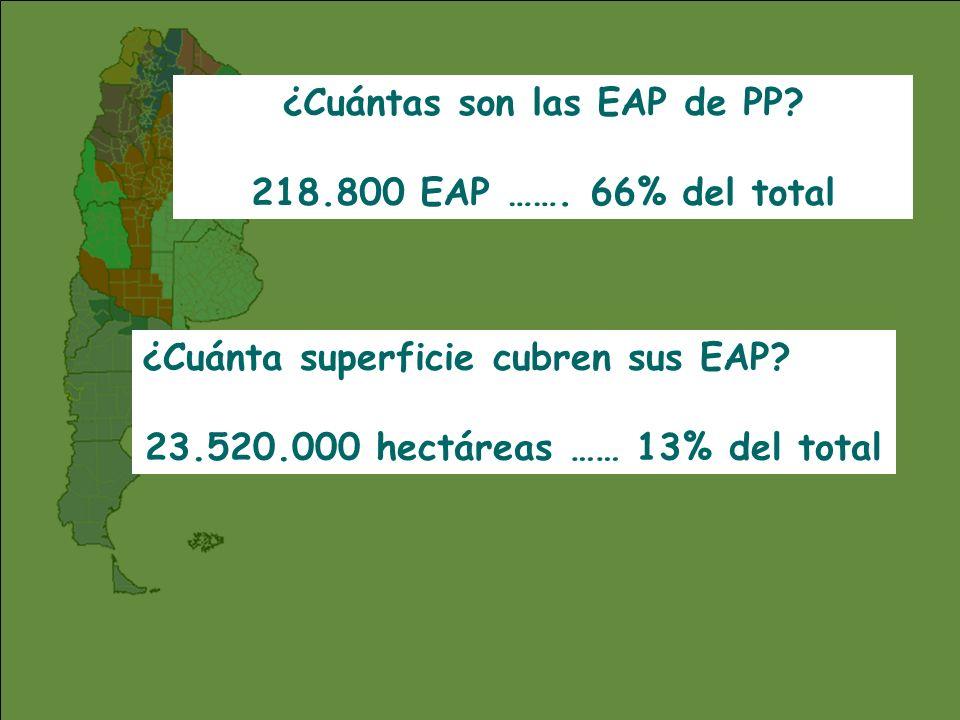 ¿Cuántas son las EAP de PP 23.520.000 hectáreas …… 13% del total