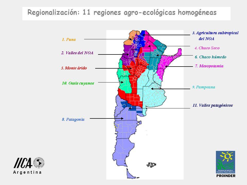 Regionalización: 11 regiones agro-ecológicas homogéneas