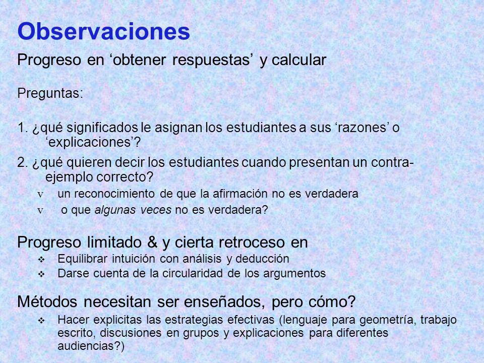 Observaciones Progreso en 'obtener respuestas' y calcular