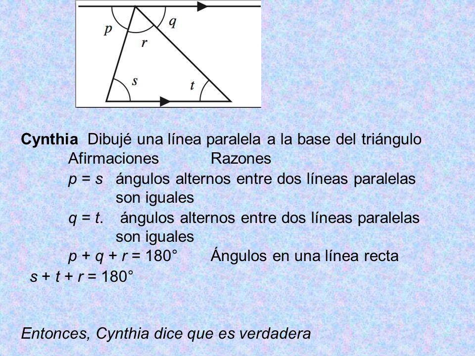 Cynthia Dibujé una línea paralela a la base del triángulo
