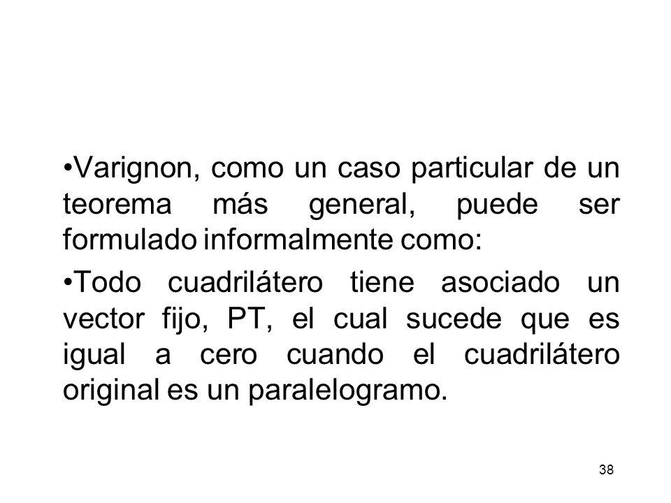 Varignon, como un caso particular de un teorema más general, puede ser formulado informalmente como: