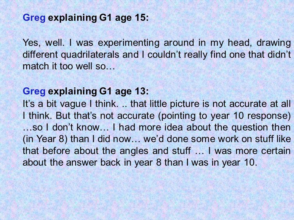 Greg explaining G1 age 15: