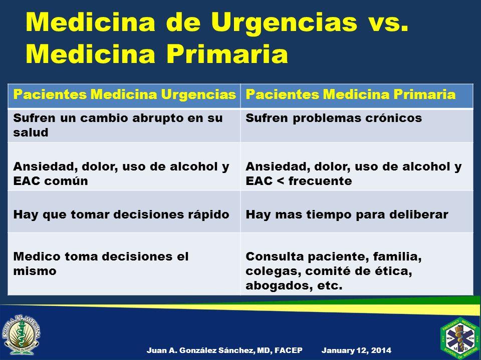 Medicina de Urgencias vs. Medicina Primaria