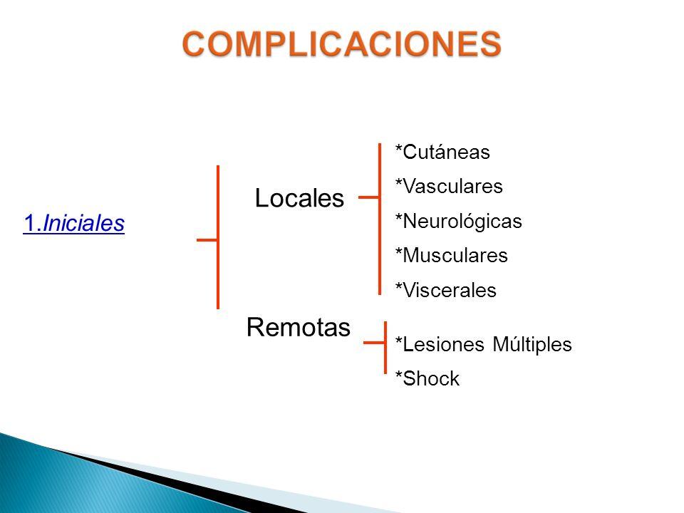 Locales Remotas 1.Iniciales *Cutáneas *Vasculares *Neurológicas