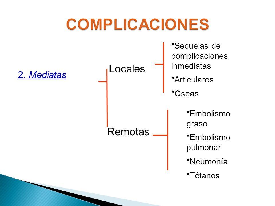 COMPLICACIONES Locales Remotas 2. Mediatas