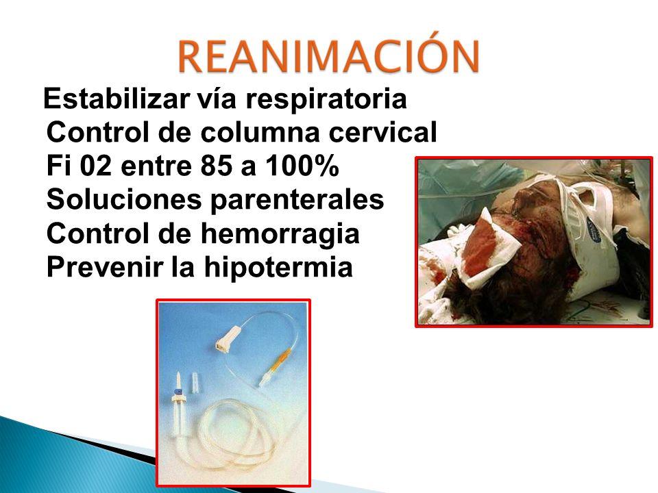 Control de columna cervical Fi 02 entre 85 a 100%