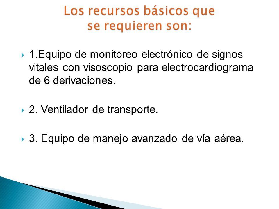 1.Equipo de monitoreo electrónico de signos vitales con visoscopio para electrocardiograma de 6 derivaciones.