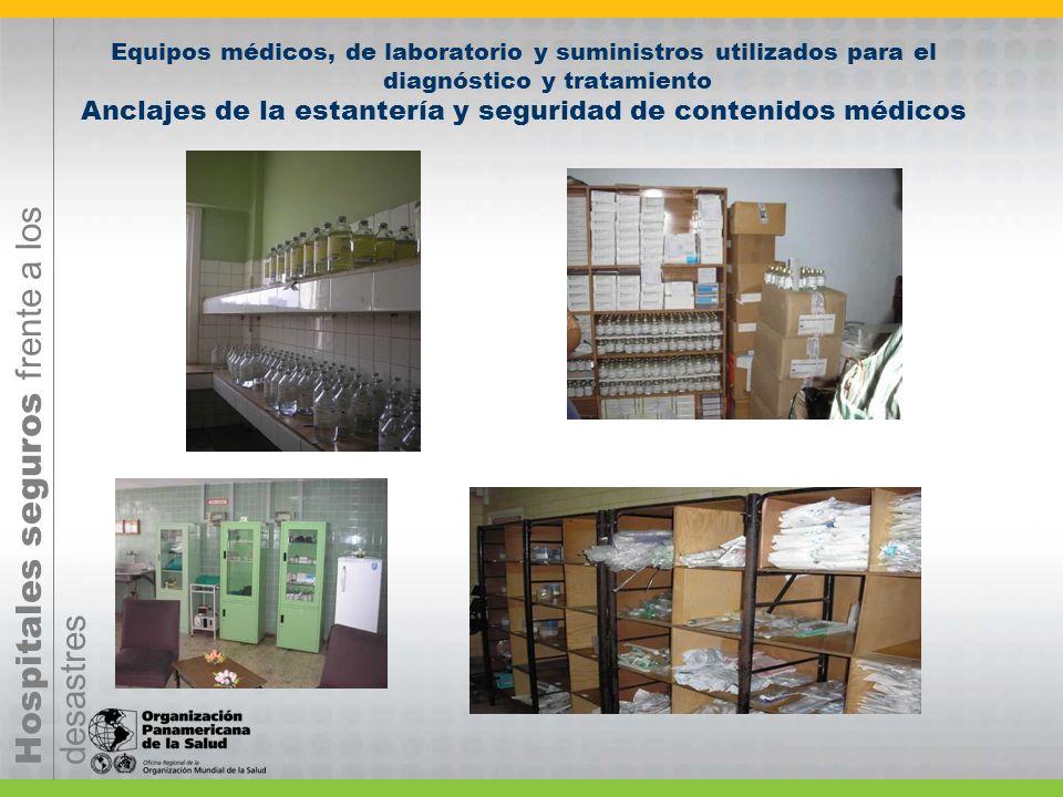 Equipos médicos, de laboratorio y suministros utilizados para el diagnóstico y tratamiento Anclajes de la estantería y seguridad de contenidos médicos