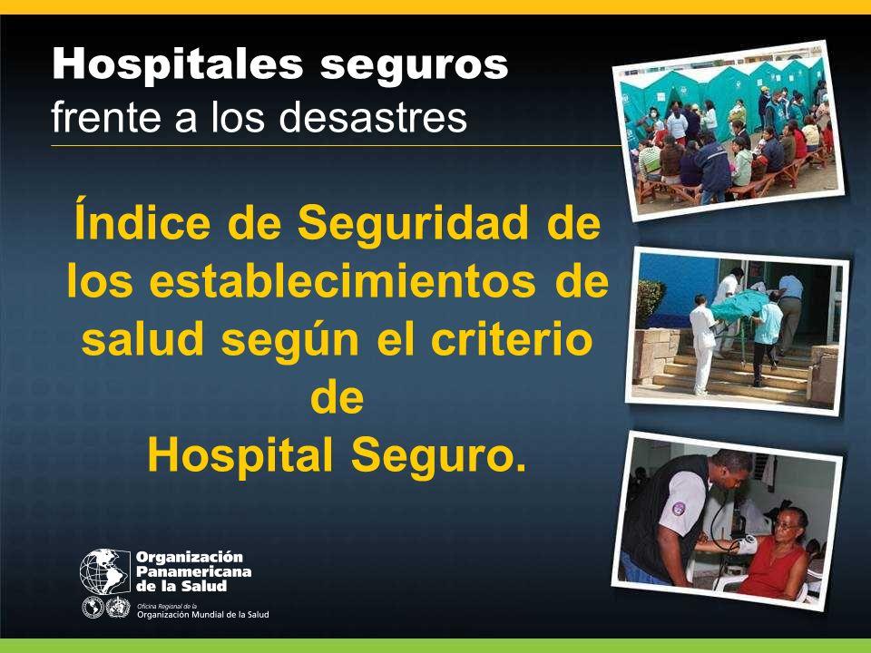 Índice de Seguridad de los establecimientos de salud según el criterio de Hospital Seguro.