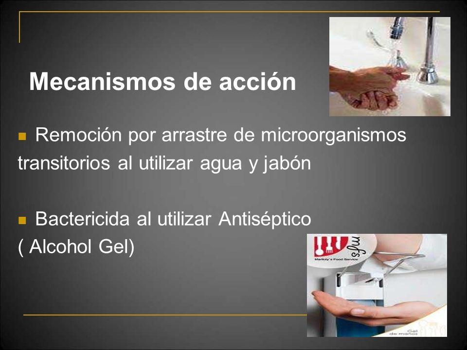 Mecanismos de acción Remoción por arrastre de microorganismos
